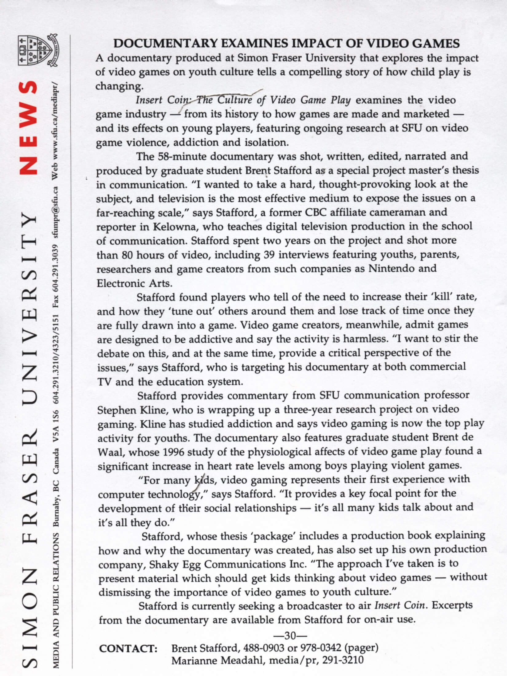 SFU press release no date-UP